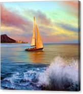 Sailing Past Waikiki Canvas Print