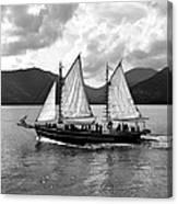 Sailing Ship Black And White Canvas Print