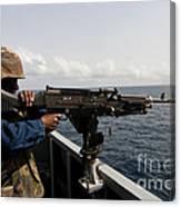 Sailor Fires A M240b Machine Gun Aboard Canvas Print