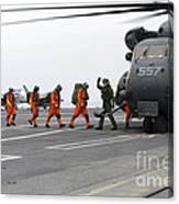 Sailors Board An Mh-53e Sea Dragon Canvas Print
