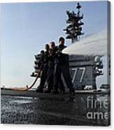 Sailors Conduct Hose Team Training Canvas Print
