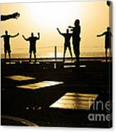 Sailors Exercise In The Hangar Bay Canvas Print