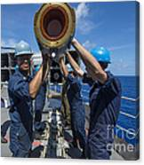Sailors Load Rim-7 Sea Sparrow Missiles Canvas Print