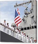 Sailors Man The Rails Aboard Uss Canvas Print