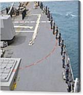 Sailors Man The Rails On Uss Mccampbell Canvas Print