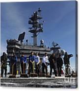 Sailors Participate In A Fight Deck Canvas Print