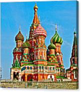 Saint Basil Cathedral In Red Square In Moscow- Russia Canvas Print