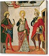 Saint Cecilia Between Saint Valerian And Saint Tiburtius With A Donor Canvas Print