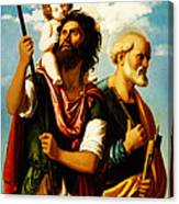 Saint Christopher With Saint Peter Canvas Print