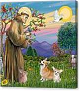 Saint Francis Blesses A Corgi And Her Pup Canvas Print