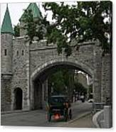 Saint Louis Gate In Ramparts Of Quebec City Canvas Print