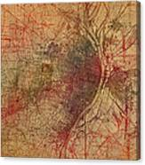 Saint Louis Missouri Street Map Schematic Watercolor On Old Parchment From 1903 Canvas Print