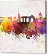 Saint Petersburg Skyline In Watercolor Background Canvas Print