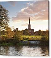 Salisbury Cathedral And The River Avon Canvas Print