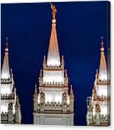 Salt Lake Lds Mormon Temple At Night Canvas Print