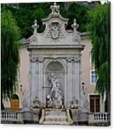 Salzburg Castle With Fountain Canvas Print