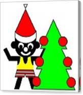 Sam And His Christmas Tree Wish You A Merry Christmas Canvas Print