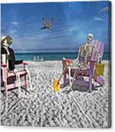 Sam And His Friend Visit Long Boat Key Canvas Print