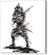 Samurai Complete Armor Warrior Steel Silver Plate Japanese Painting Watercolor Ink G Canvas Print