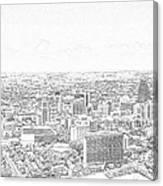 San Antonio Downtown Lineart Canvas Print