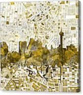 San Antonio Skyline Watercolor 7 Canvas Print