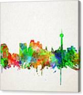 San Antonio Skyline Watercolor Canvas Print