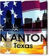 San Antonio Tx Patriotic Large Cityscape Canvas Print