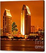 San Diego Skyline At Night Along San Diego Bay Canvas Print