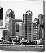 San Diego Skyline In Black And White Canvas Print