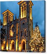 San Fernando Cathedral And Christmas Tree Main Plaza - San Antonio Texas Canvas Print