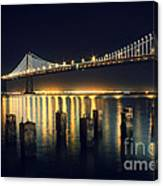 San Francisco Bay Bridge Illuminated Canvas Print