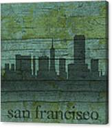 San Francisco California Skyline Silhouette Distressed On Worn Peeling Wood Canvas Print