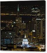 San Francisco Cityscape With City Hall At Night Canvas Print