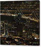 San Francisco Cityscape With Oakland Bay Bridge At Night Canvas Print