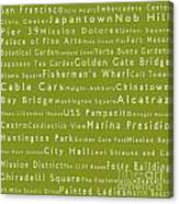 San Francisco In Words Olive Canvas Print