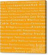 San Francisco In Words Orange Canvas Print