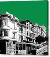 San Francisco Skyline Cable Car 2 - Forest Green Canvas Print