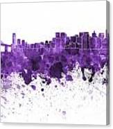San Francisco Skyline In Purple Watercolor On White Background Canvas Print