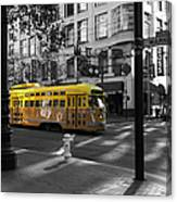 San Francisco Vintage Streetcar On Market Street - 5d19798 - Black And White And Yellow Canvas Print