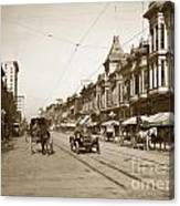 94-095-0001 Early Knox Automobile First Street San Jose California Circa 1905 Canvas Print