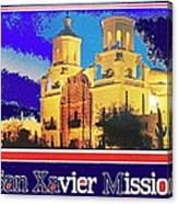 San Xavier Mission Postcard #1  With Lettering No Date-2013  Canvas Print