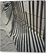 Sand Fence During Winter On The Beach Canvas Print