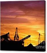 Sand Pit Silhouette  Sunset With Red And Yellow Sky Canvas Print