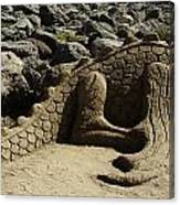 Sand Sculpture Dragon With Flaming Nostrils Canvas Print