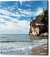 Sandstone Cliffs By Ocean At Telok Canvas Print