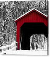 Sandy Creek Cover Bridge With A Touch Of Red Canvas Print