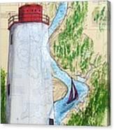 Sandy Hook Lighthouse Nj Chart Map Art Peek Canvas Print