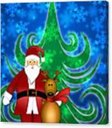 Santa And Reindeer In Winter Snow Scene Canvas Print