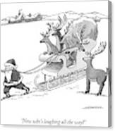 Santa Claus Pulls A Sleigh Full Of Reindeer Canvas Print
