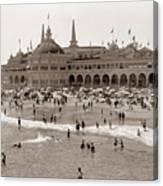 Santa Cruz Beach From Pleasure Pier  California Circa 1908 Canvas Print
